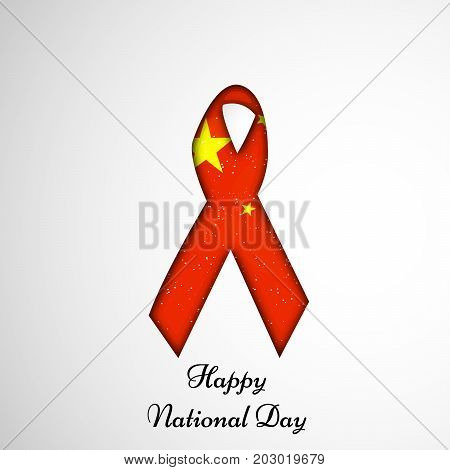 illustration of ribbon in China flag background with Happy National Day text on the occasion of China National Day