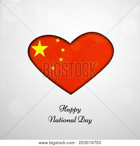 illustration of heart in China flag background with Happy National Day text on the occasion of China National Day