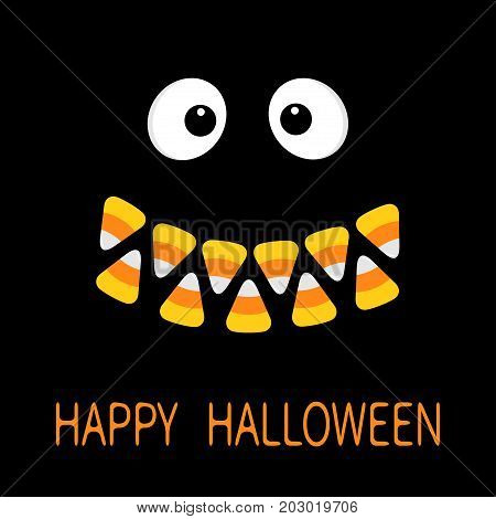 Happy Halloween. Scary face smiling emotions. Big eyes mouth Candy corn smile teeth. Vampire tooth fang. Baby Greeting card. Flat design style. Black background. Vector illustration