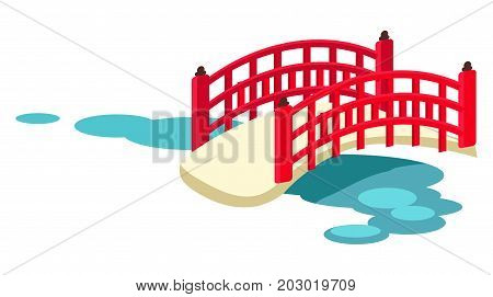 Wooden red japanese arched garden bridge across pond with water lilies flat vector isolated on white background. Traditional oriental landscaping element illustration for tourist concept and travel ad