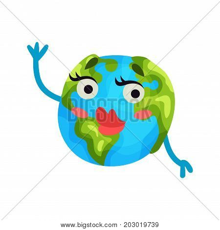 Cute cartoon flirty Earth planet emoji with red lips, humanized globe character with emotions colorful vector Illustration on a white background