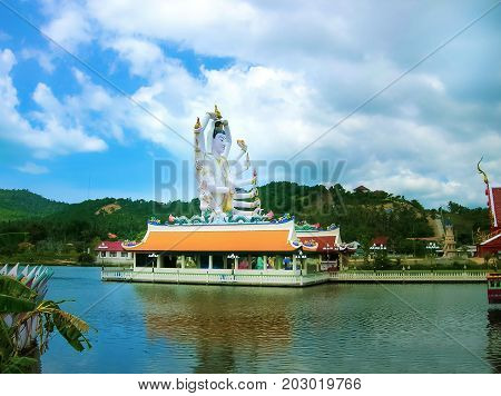 Wat Plai Laem temple with 18 hands God statue Guanyin , Koh Samui, Surat Thani, Thailand.