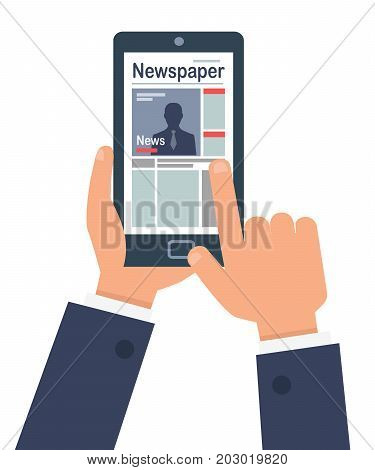 Man's hands looks at the latest news on smart on white background. Man in business suit holding a finger to read the news online using the Internet. Vector illustration business card design.