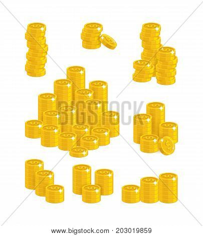 Dollar coin heaps. Exceeding income goals, calculating high income and a large capital base. Business finance and economy concept. Cartoon vector illustration isolated on white background