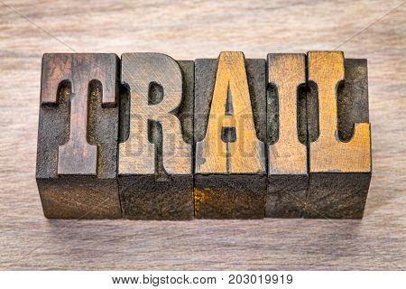 trail word in vintage  letterpress wood type against grained wood