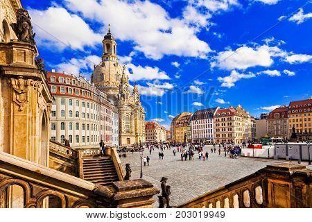 Travel in Germany - elegant baroque Dresden. square Neumarkt with famous Frauenkirche church