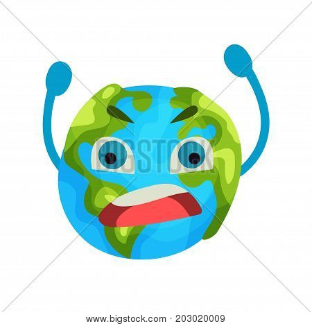 Cartoon furious Earth planet emoji, humanized globe character with emotions colorful vector Illustration on a white background