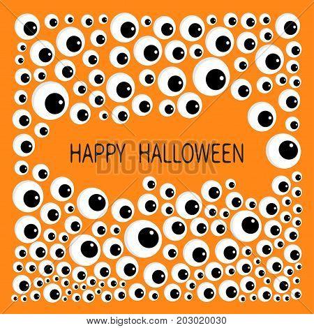 Eyes frame. Eyeball apple set. Happy Halloween baby card. Spooky orange background. Flat design. Vector illustration