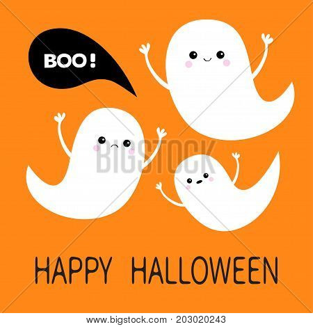 Happy Halloween. Flying ghost spirit set. Three scary white ghosts. Boo Cute cartoon spooky character. Smiling Sad face frightening scaring hands. Orange background. Greeting card Flat design. Vector