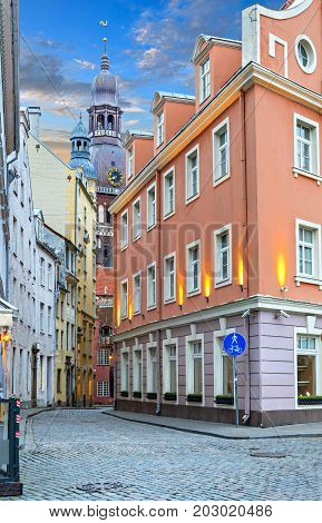 Medieval streets in old Riga, Latvia, Europe. Here  tourists can find unique medieval architectural ensembles and ancient buildings