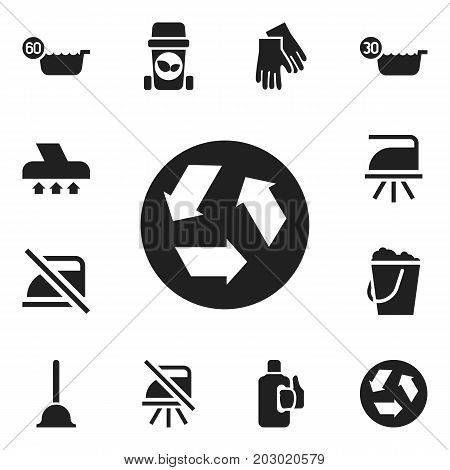 Set Of 12 Editable Cleaning Icons. Includes Symbols Such As Trash Bin, Flatiron, Warning And More