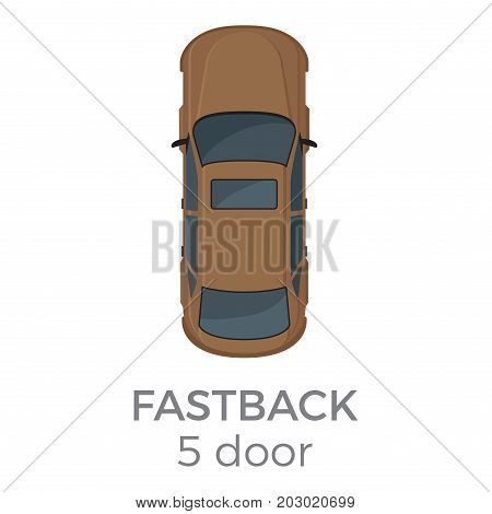 Five doors fastback top view icon. Modern passenger car roof view with text flat vector isolated on white. Personal passenger vehicle illustration for urban transport concepts and infographics