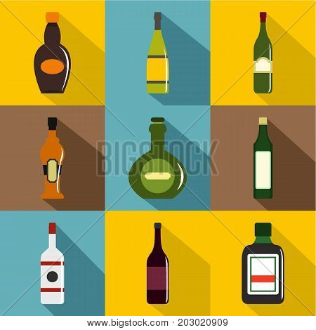 Types of bottle icon set. Flat style set of 9 types of bottle vector icons for web design