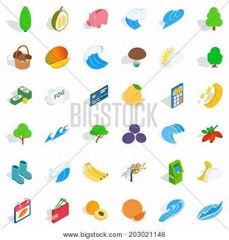 Vital icons set. Isometric style of 36 vital vector icons for web isolated on white background