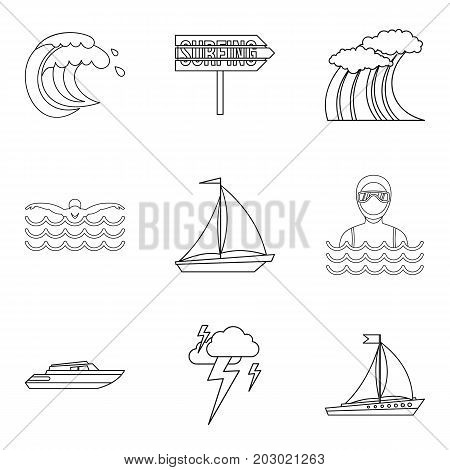 Bad weather icons set. Outline set of 9 bad weather vector icons for web isolated on white background