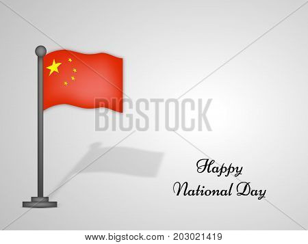 illustration of China flag with Happy National Day text on the occasion of China National Day