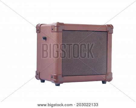 Small Acoustic Guitar Amplifier Isolated On White Background
