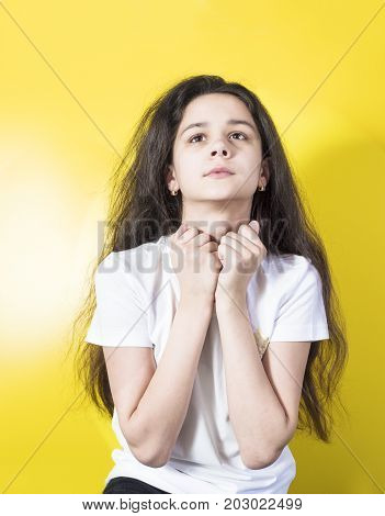 Young Woman Praying In The Morning.teenager Woman Hand Praying,hands Folded In Prayer In The Morning