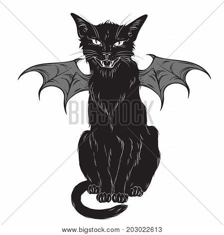 Creepy black cat with monster wings isolated over white background. Wiccan familiar spirit halloween or pagan witchcraft theme print design vector illustration