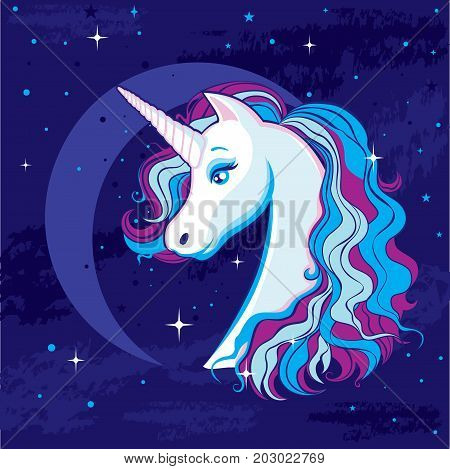 Romantic illustration with a unicorn on the background of the moon and the starry sky. Beautiful magic head unicorn with colored hair