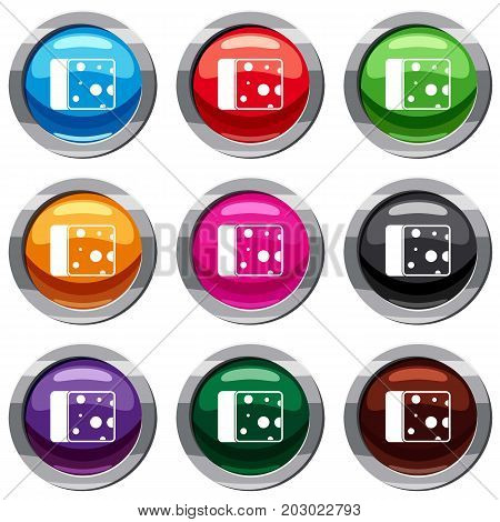 Cheese set icon isolated on white. 9 icon collection vector illustration
