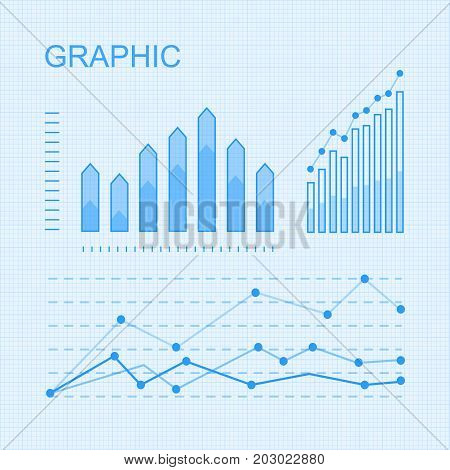 Set of graphic elements for infographic. Statistic information vector presentation. Curves fluctuation and column diagrams on checkered graph paper illustration for business, social, political concept