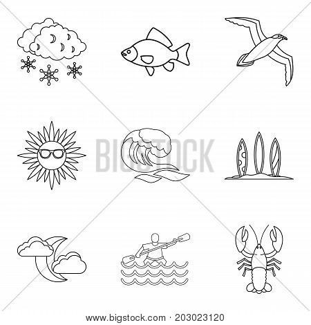 Sea creature icons set. Outline set of 9 sea creature vector icons for web isolated on white background
