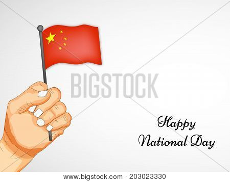 illustration of hand holding China flag with Happy National Day text on the occasion of China National Day