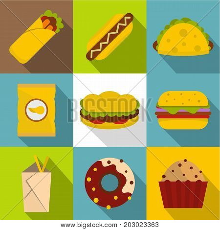 Snacks icon set. Flat style set of 9 snacks vector icons for web design