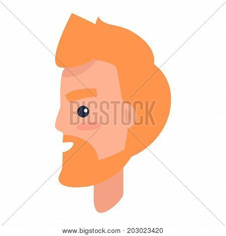 Male cartoon redhead character with beard turned in profile isolated on white background. Man head with beard and thick eyebrows that smiles vector illustration. Human profile portrait image.