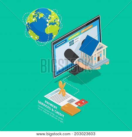 World global payment and credit services concept. Earth globe with trade routes, internet bank client page, contract with wallet and credit card isometric vector. Online banking scheme 3d illustration