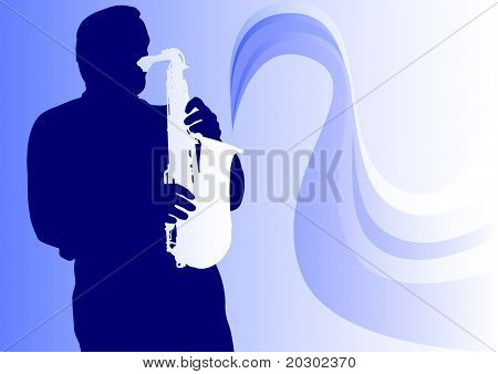 graphic saxophonist in concert. Silhouette on blue background
