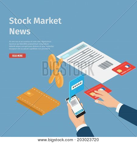 Stock market news internet informative page vector illustration. Smartphone in hand with opened chat, men wallet, payment card, document for sign and percent symbol on blue background with text.
