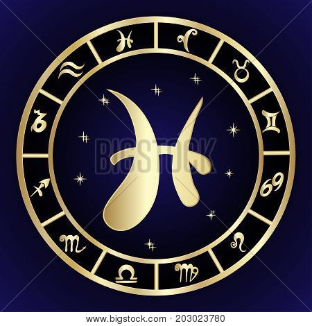 Pisces zodiac sign in oval frame vector Illustration. Contour icon.