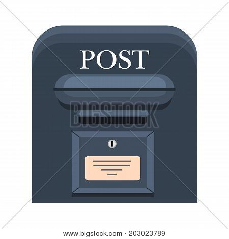 Traditional wall mounted metal mailbox with address plate and lock flat vector illustration. Locking container for letters icon isolated on white. Classic postal box for mail and correspondence