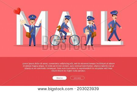 Mail conceptual web banner with cartoon postman characters. Funny postal couriers delivering letters and parcels flat vector illustration. Horizontal concept with mailman for post service landing page