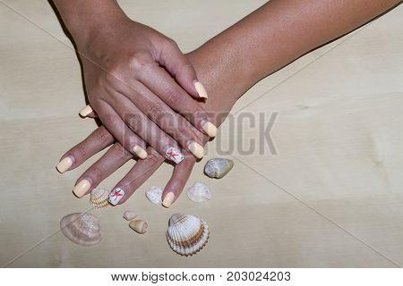 Manicure - Beauty Treatment Photo Of Summer Manicured Fingernails. Soft Focus