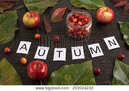 Autumn composition with leaves, apples and sign Autumn on a black background.