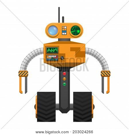 Yellow metallic robot with two wheels instead of legs isolated on white. Vector illustration of mechanical device with round glass eyes, cardio buttons, switches and measuring scale on circular body
