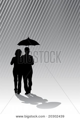Vector graphic amorous couple under an umbrella. Silhouettes against the backdrop of the rain