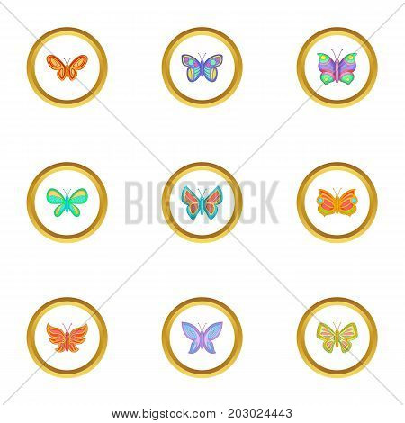 Different types of butterflies icons set. Cartoon set of 9 different types of butterflies vector icons for web isolated on white background