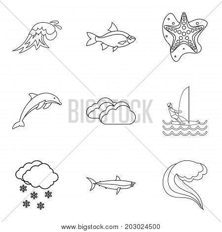 Fish icons set. Outline set of 9 fish vector icons for web isolated on white background
