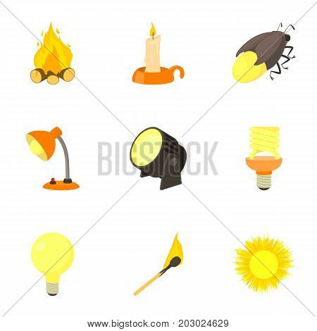 Light source icons set. Cartoon set of 9 light source vector icons for web isolated on white background