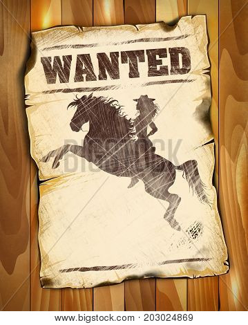 wanted poster empty with silhouette of a beauty girl on horseback illustration