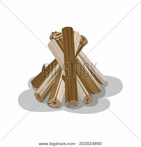 Bunch of logs with shadow isolated on white. Neatly stacked firewood elements to make fire. Wooden brickets placed together to start fire. Isolated vector of round billets in cartoon style
