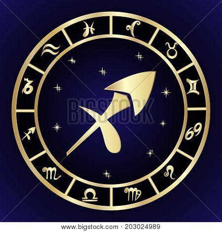 Sagittarius zodiac sign in oval frame vector Illustration. Contour icon.