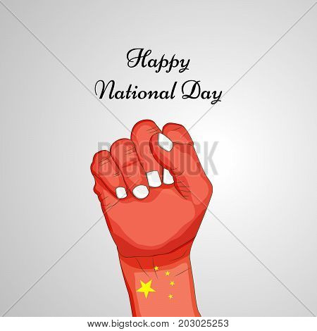 illustration of hand in China flag background with Happy National Day text on the occasion of China National Day