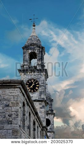 A Stone Clocktower in Bermuda Naval Dockyard