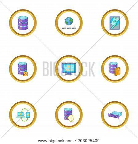 Reliable data storage icons set. Cartoon set of 9 reliable data storage vector icons for web isolated on white background