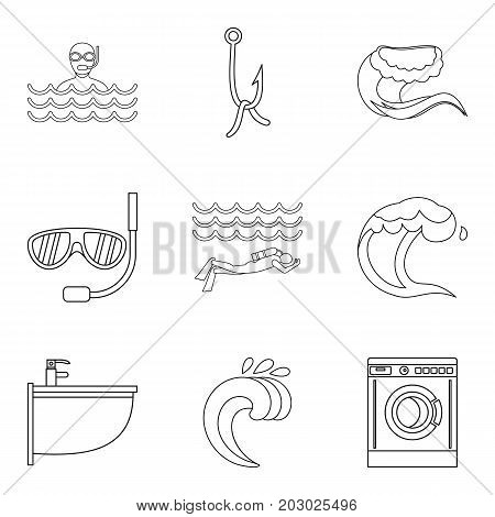 Sinking icons set. Outline set of 9 sinking vector icons for web isolated on white background